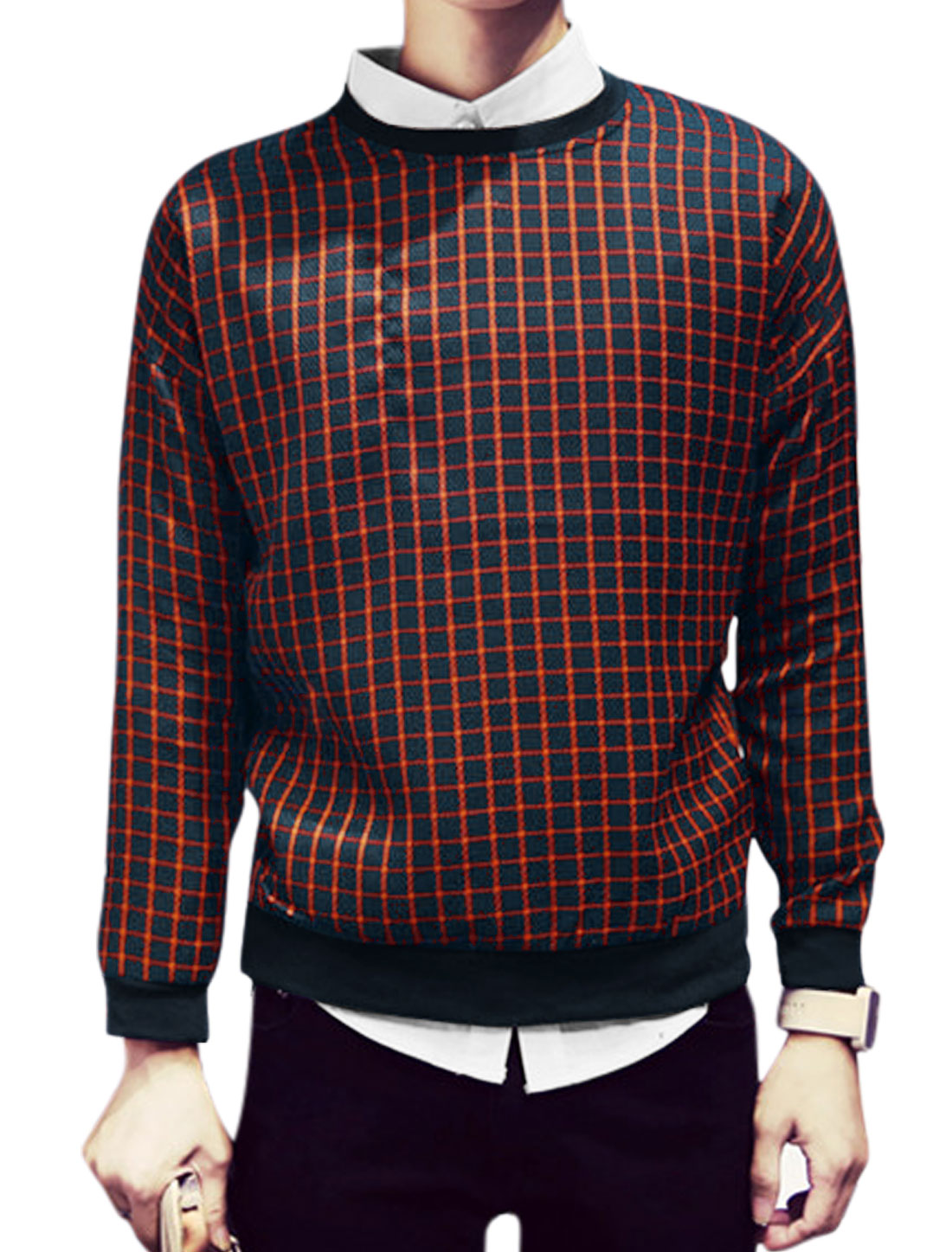 Men Plaids Pattern Crew Neck Long Sleeves Casual Sweatshirt Orange Blue M