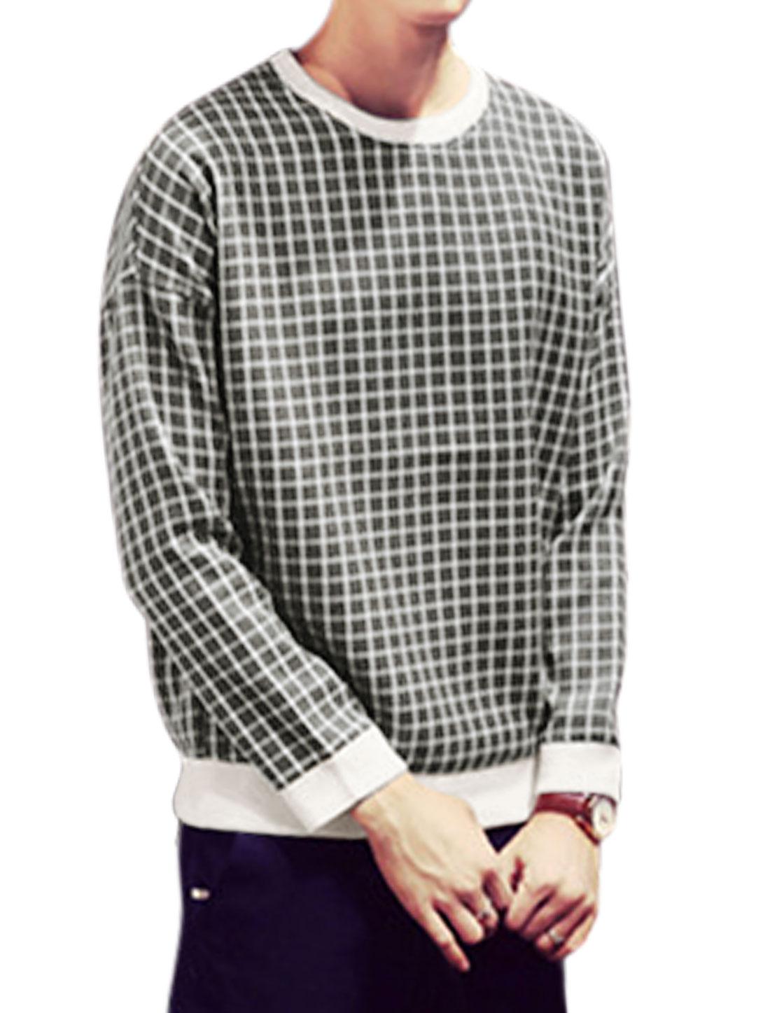 Men Long Sleeves Crew Neck Plaids Pattern Slipover Tee Shirt White Gray M