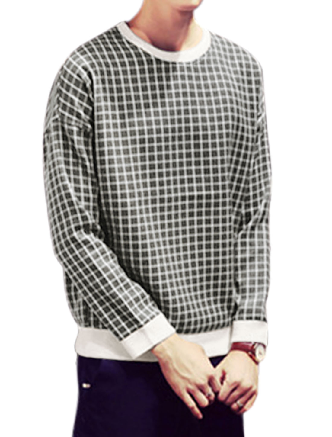 Men Leisure Long Sleeves Plaids Pattern Crew Neck Tee Shirt White Gray M