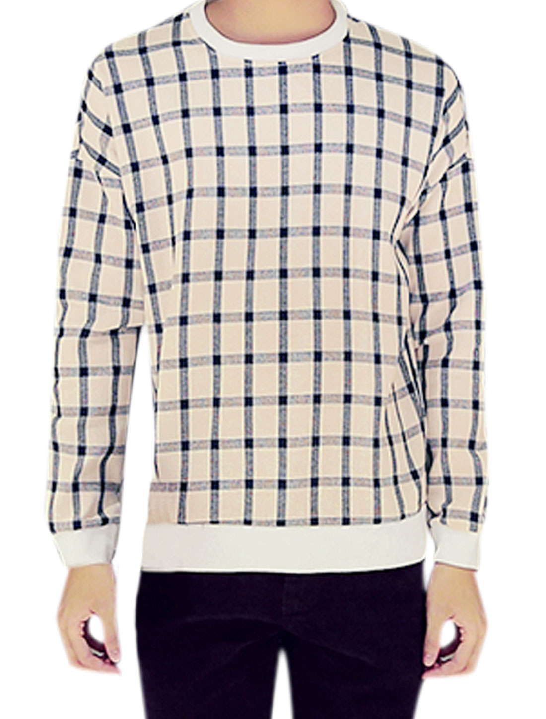 Men Crew Neck Slim Fit Long Sleeves Checks Print Casual T-Shirt Blue Beige M
