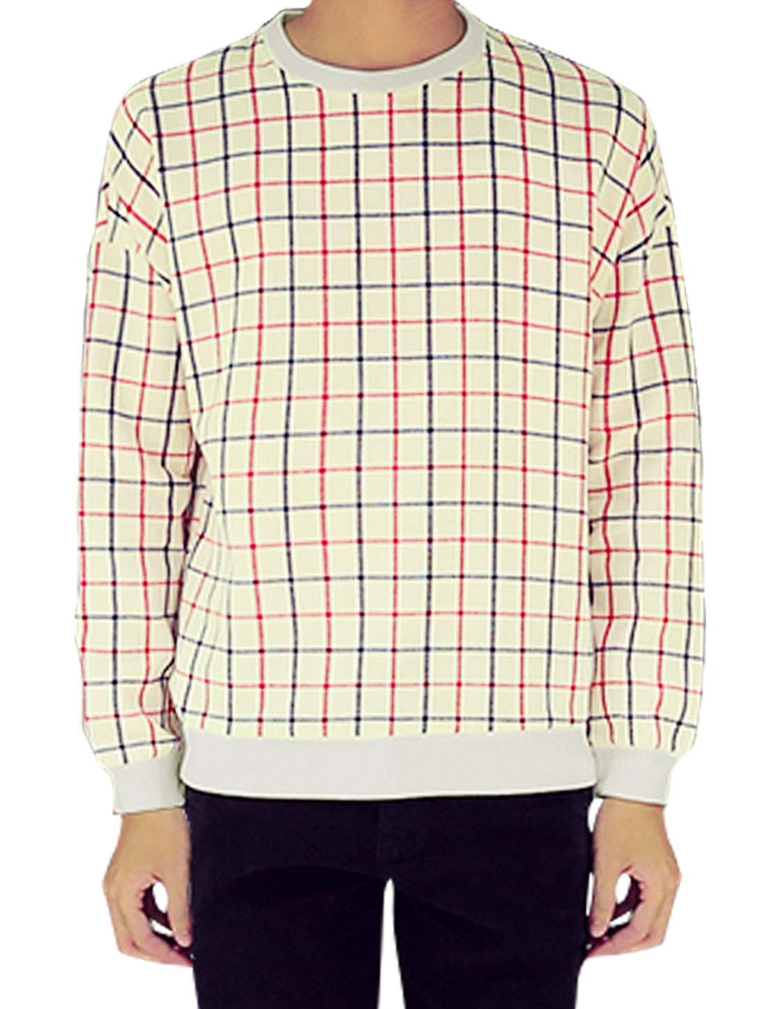 Men Long Sleeves Crew Neck Pullover Checks Pattern Casual T-Shirt Red Beige M