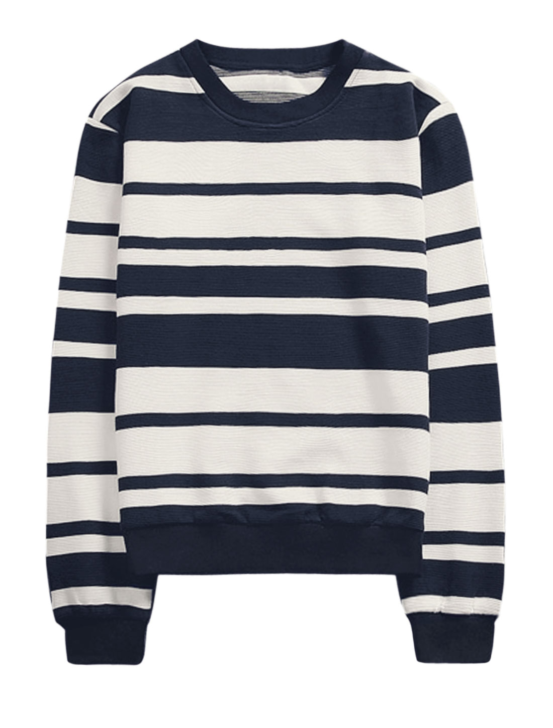 Men Crew Neck Stripes Prints Slipover Long Sleeves Casual Tops Blue White M