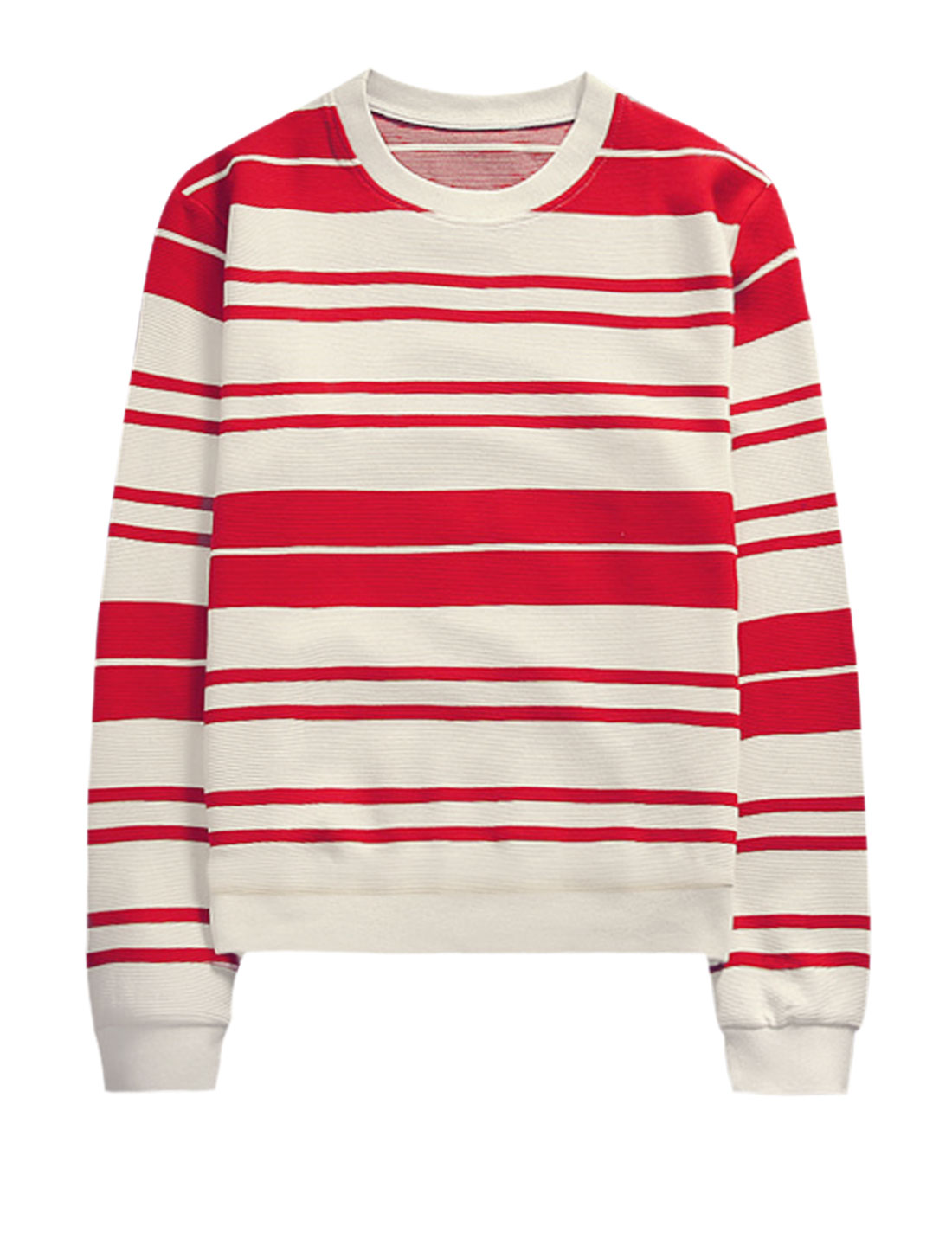 Men Stripes Prints Long-sleeved Crew Neck Ribbed Trim Leisure Tops Red White M