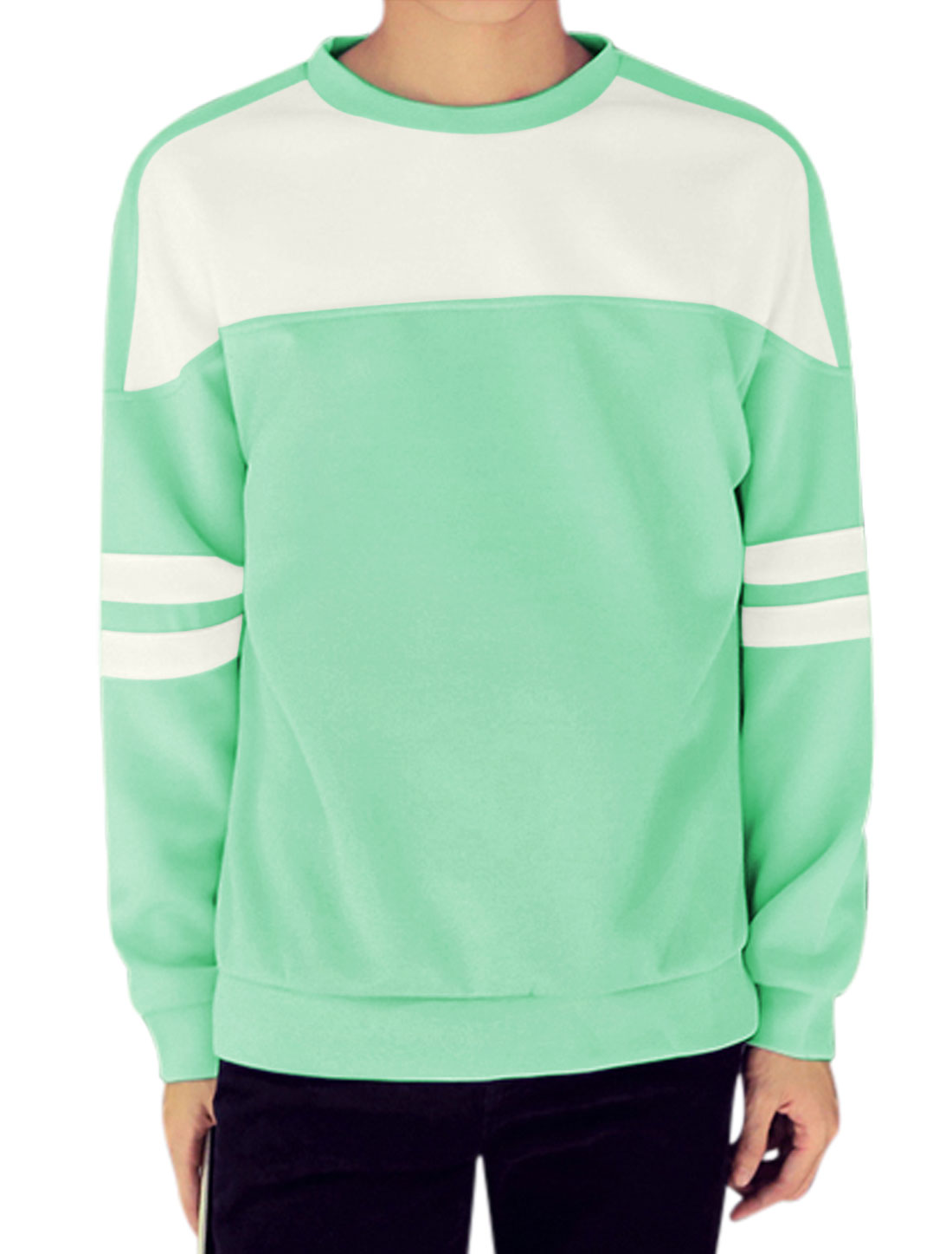 Men Crew Neck Contrast Color Stripes Detail Long Sleeves Tops Green M