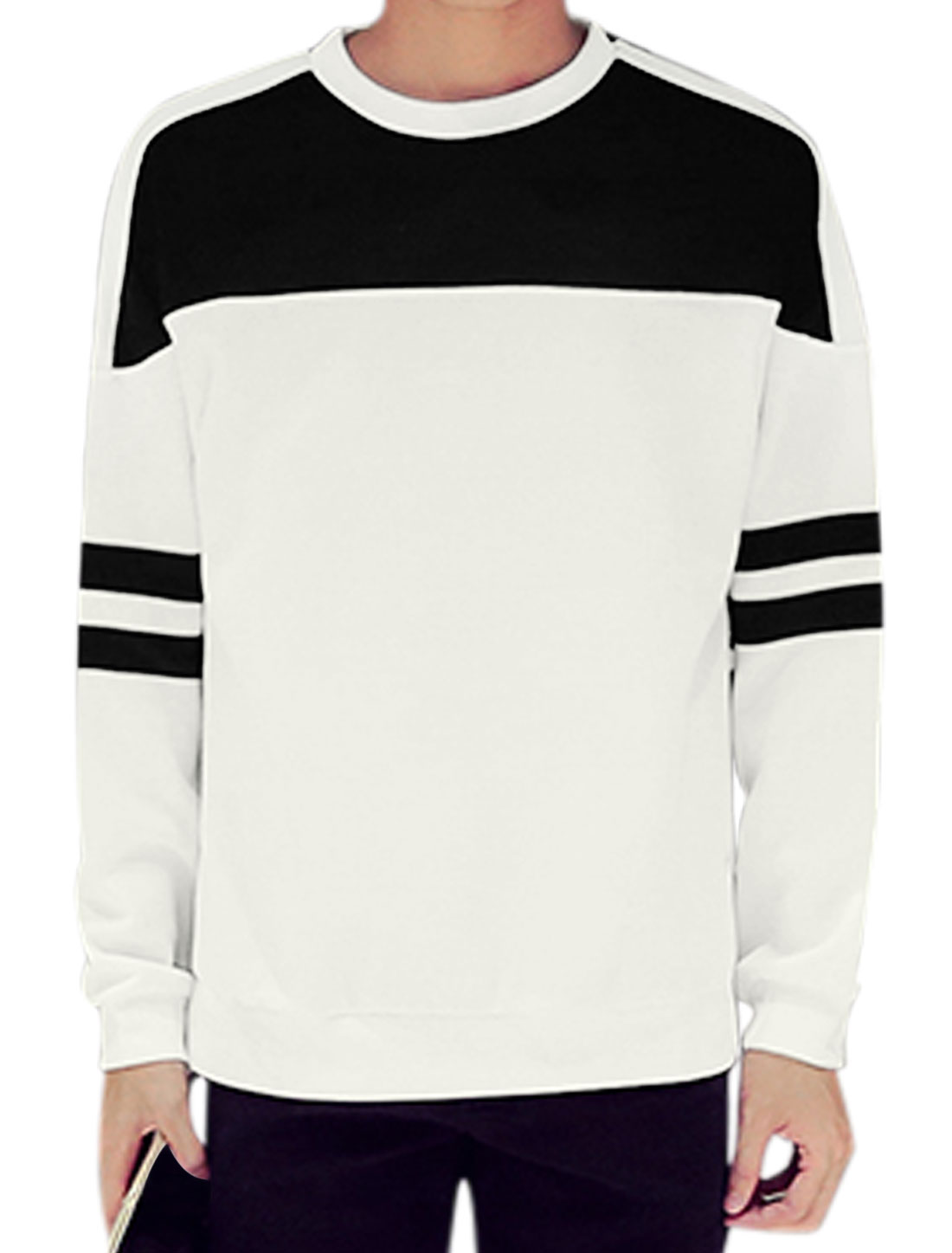 Men Long Sleeve Crew Neck Color Block Stripes Detail Pullover Tops White M
