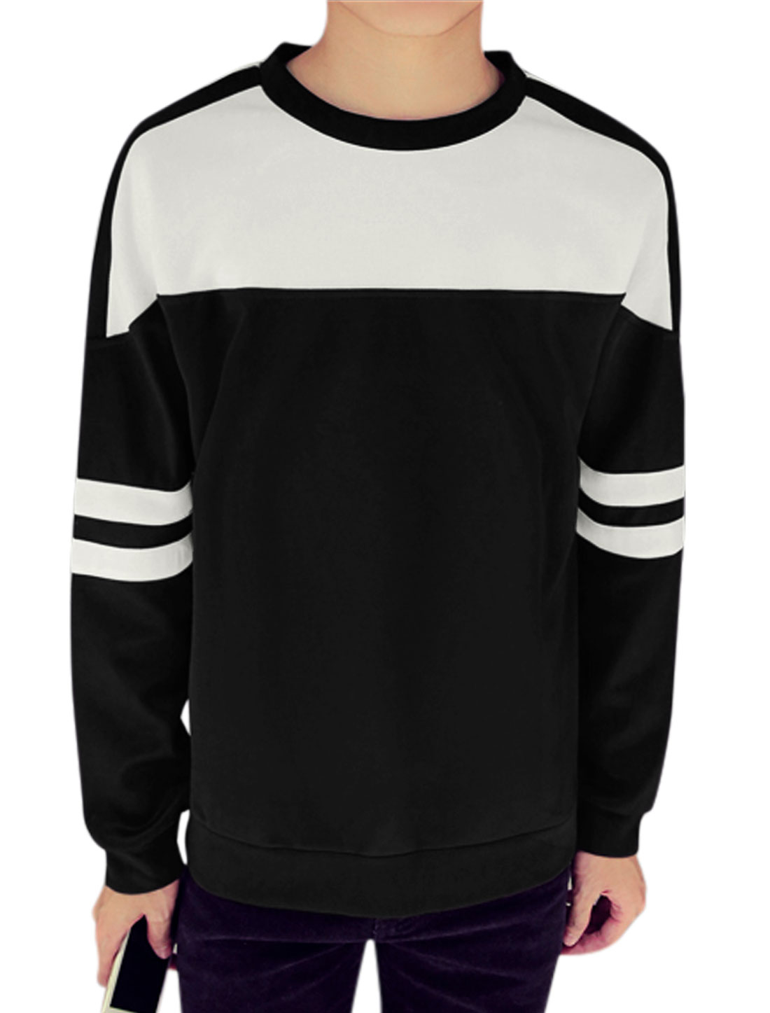 Men Long Sleeves Contrast Color Stripes Detail Casual Tee Shirt Black M