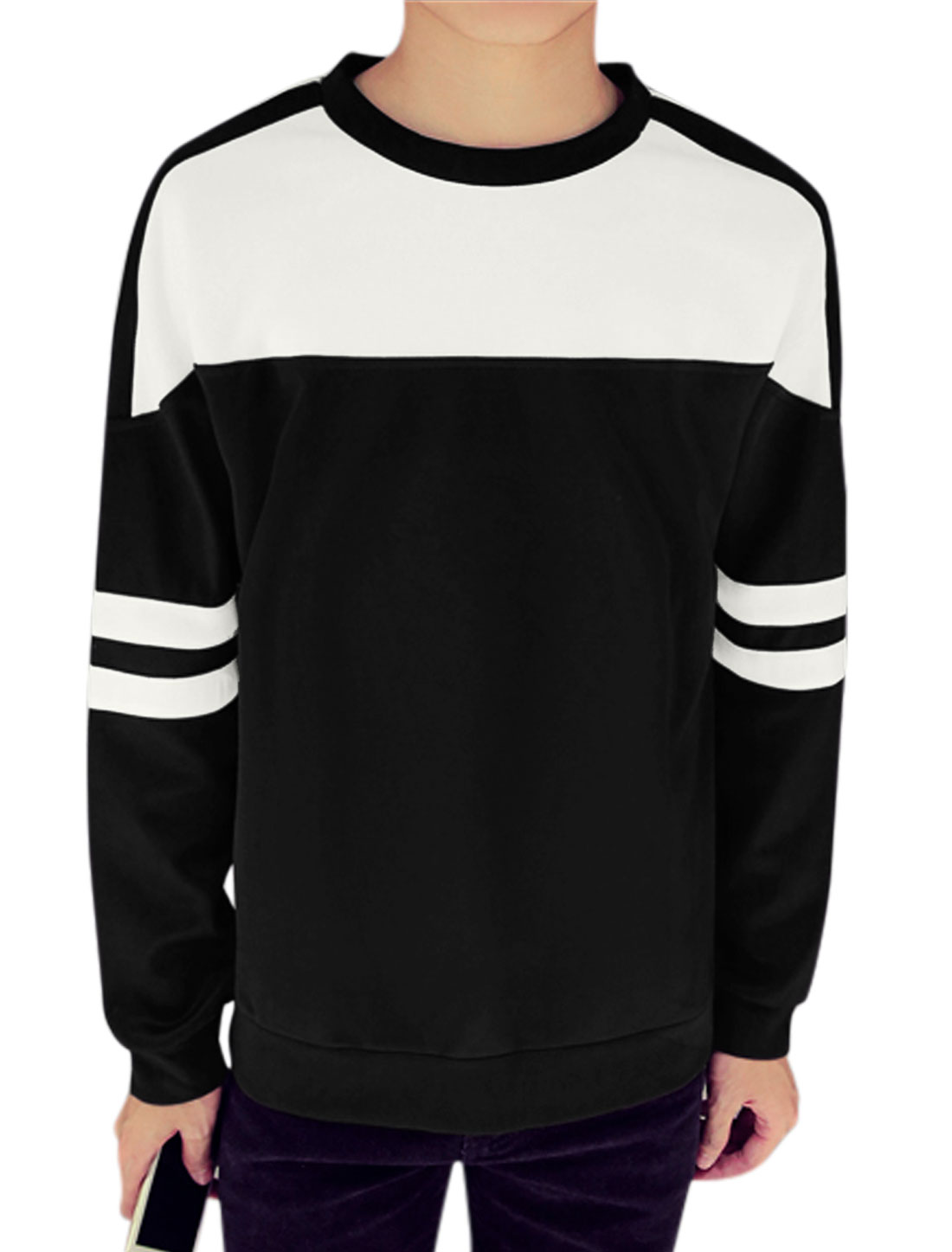 Men Color Block Stripes Detail Slipover Leisure Crew Neck Tee Shirt Black M