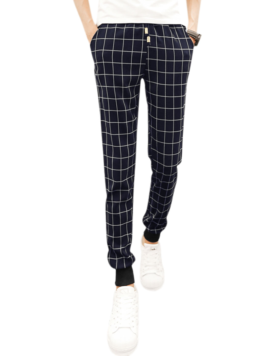 Men Natural Waist Plaids Tapered Leisure Pants Blue W30