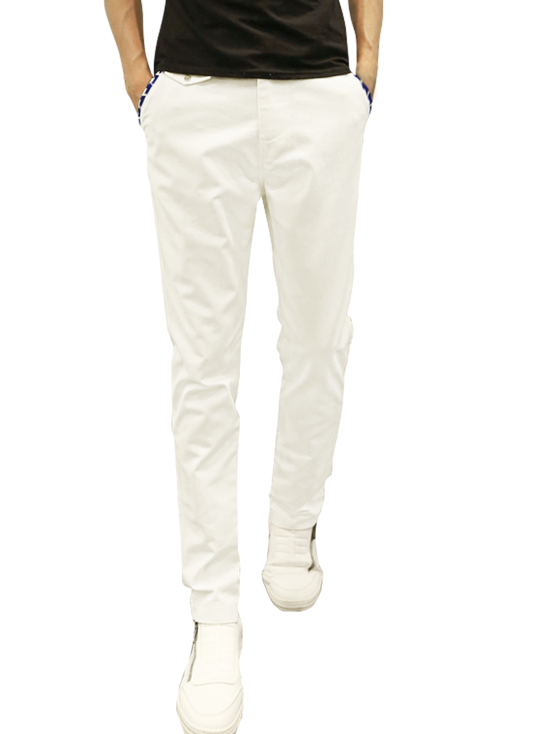 Men Natural Waist Zip Fly Four Pockets Tapered Casual Pants White W30