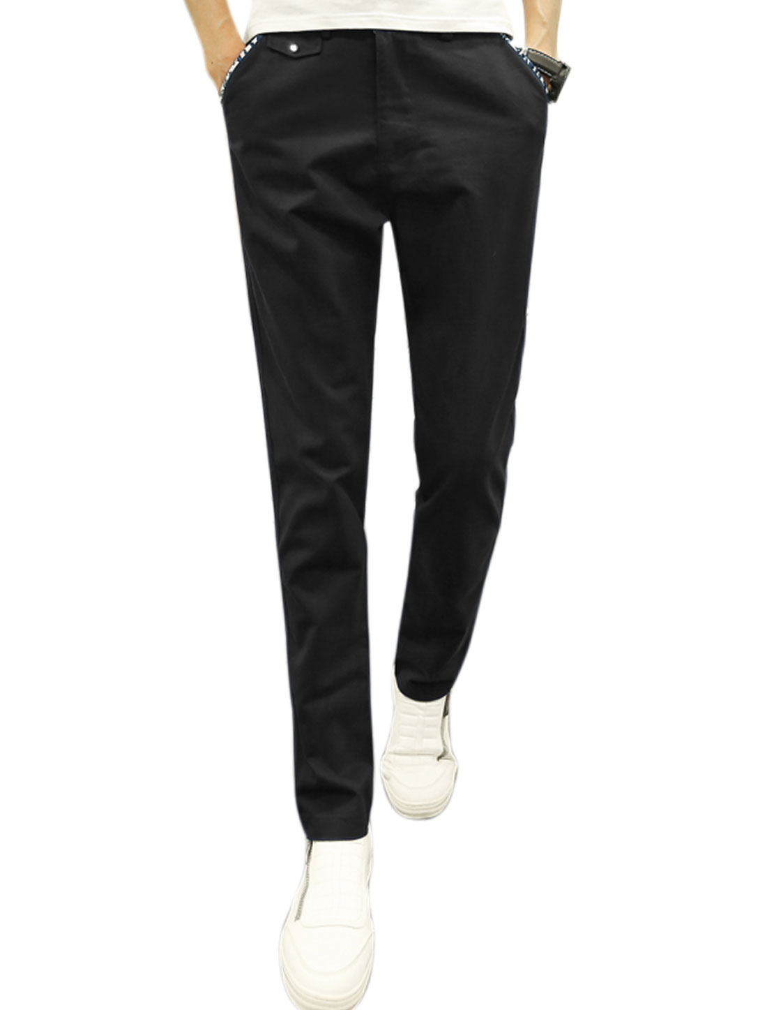 Men Zip Fly Button Closed Tapered Four Pockets Casual Pants Black W30