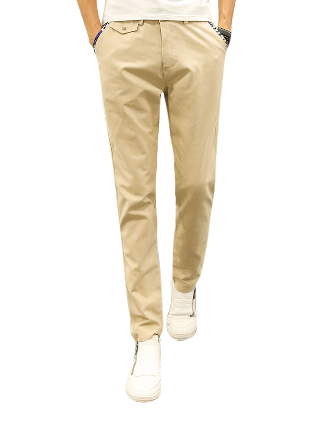 Men Button Closure Zip Fly Tapered Four Pockets Casual Trousers Beige W30