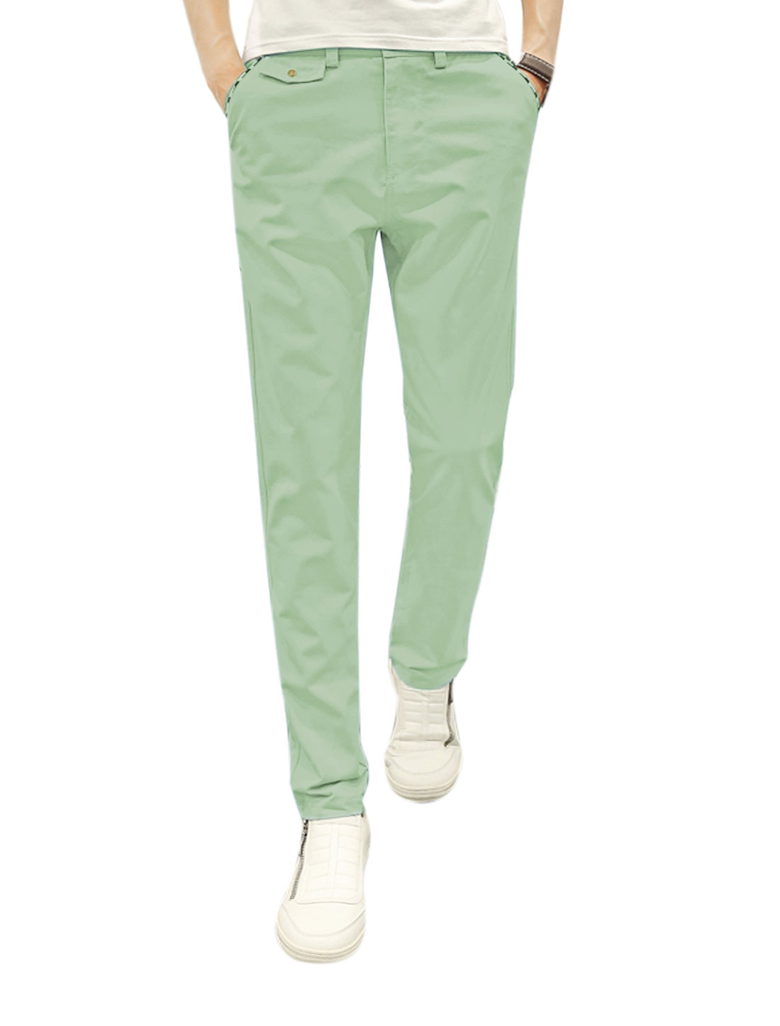 Men Mid Rise Zip Fly Four Pockets Tapered Buttoned Trousers Green W30
