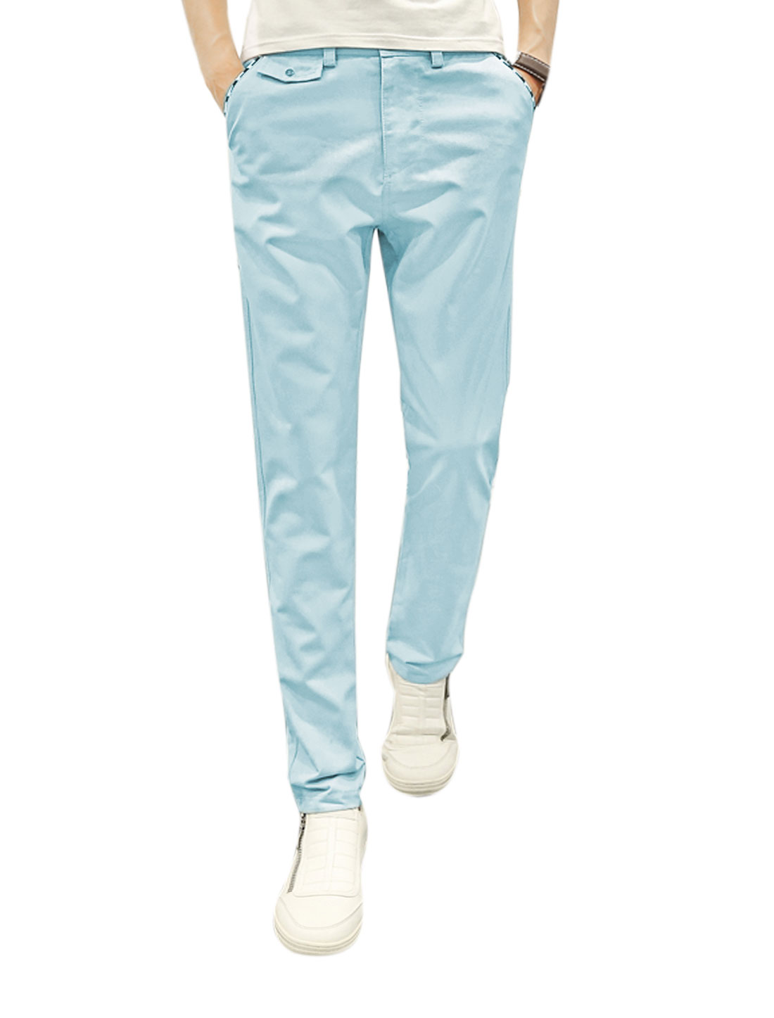 Men Natural Waist Casual Single Button Closed Zip Fly Pants Blue W32