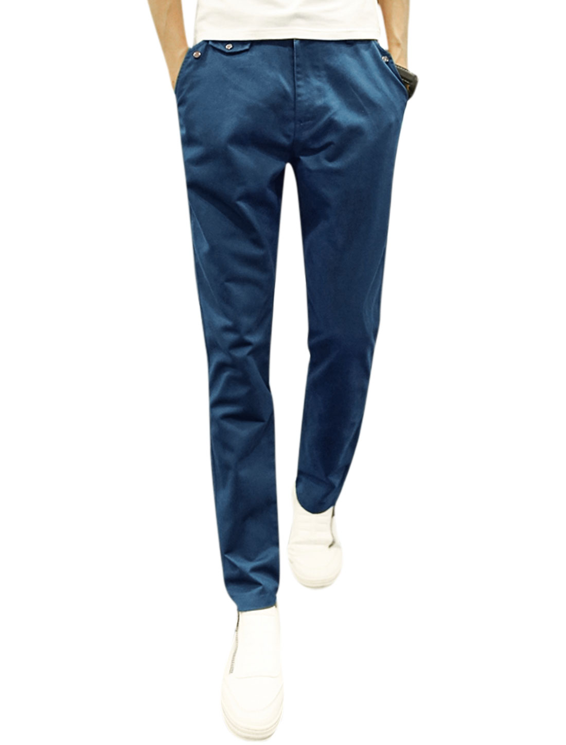 Men Zip Fly Button Closure Tapered Hip Pockets Slim Fit Casual Pants Blue W32