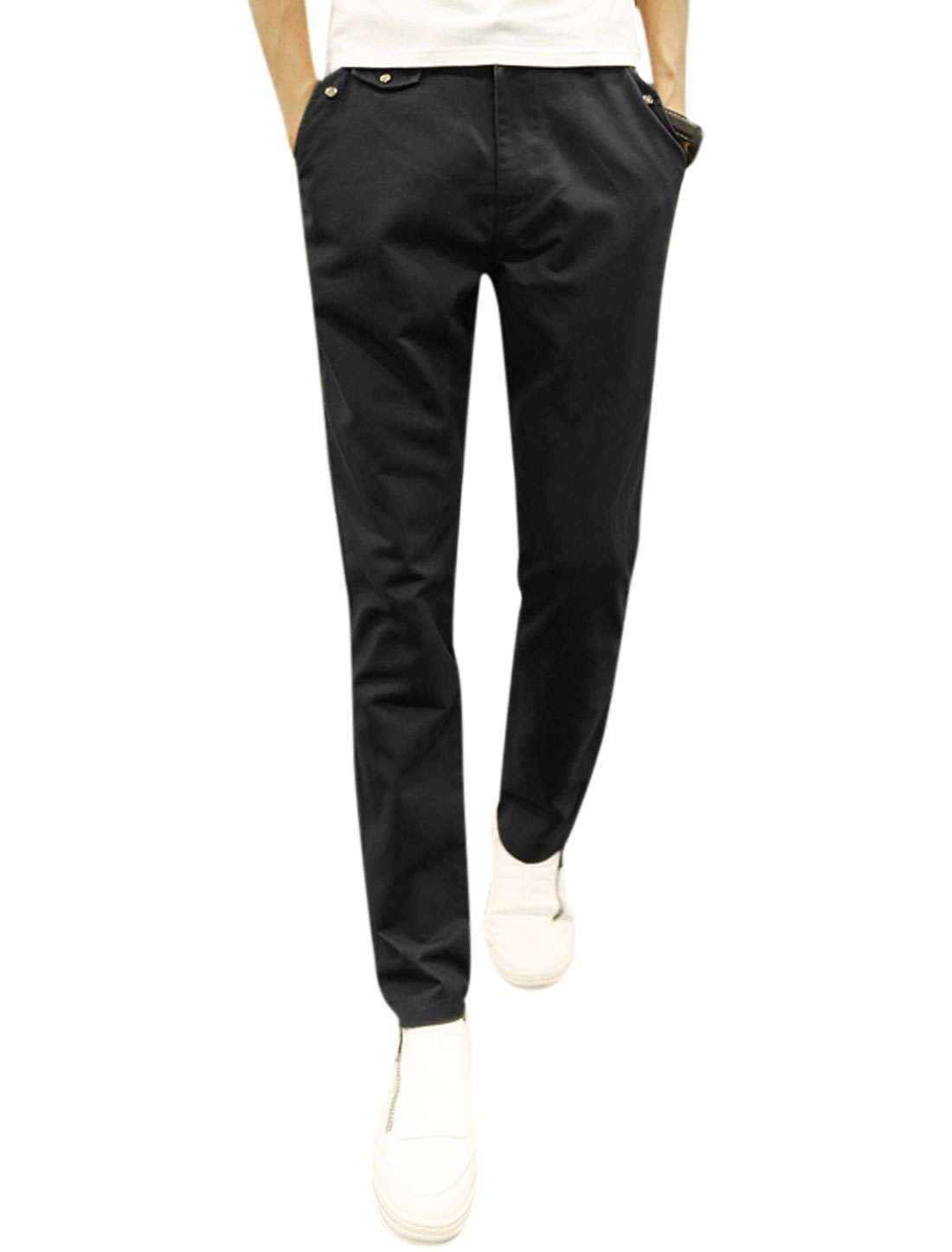 Men Mid Rise Two Slant Pockets Tapered Zip Fly Buttoned Trousers Black W30