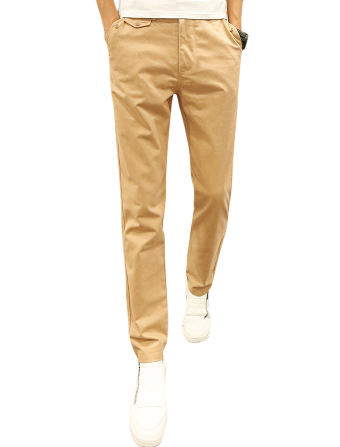 Men Zip Fly Button Closed Mid Rise Slant Pockets Tapered Leisure Pants Beige W32