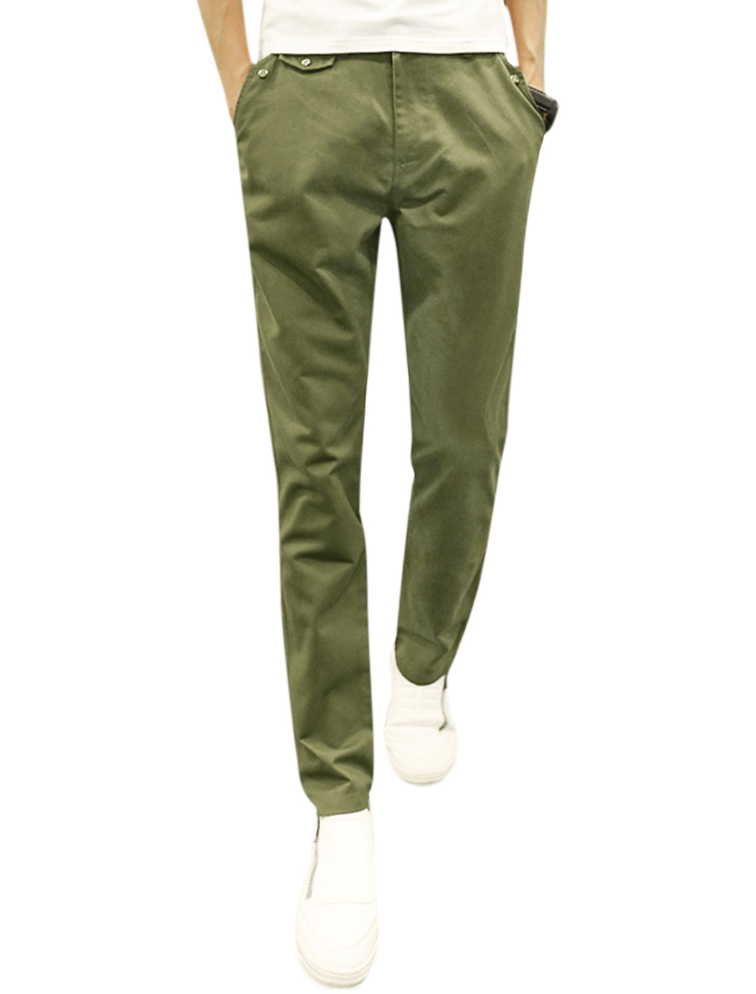 Men Natural Waist Zip Fly Button Closed Tapered Leisure Trousers Green W32