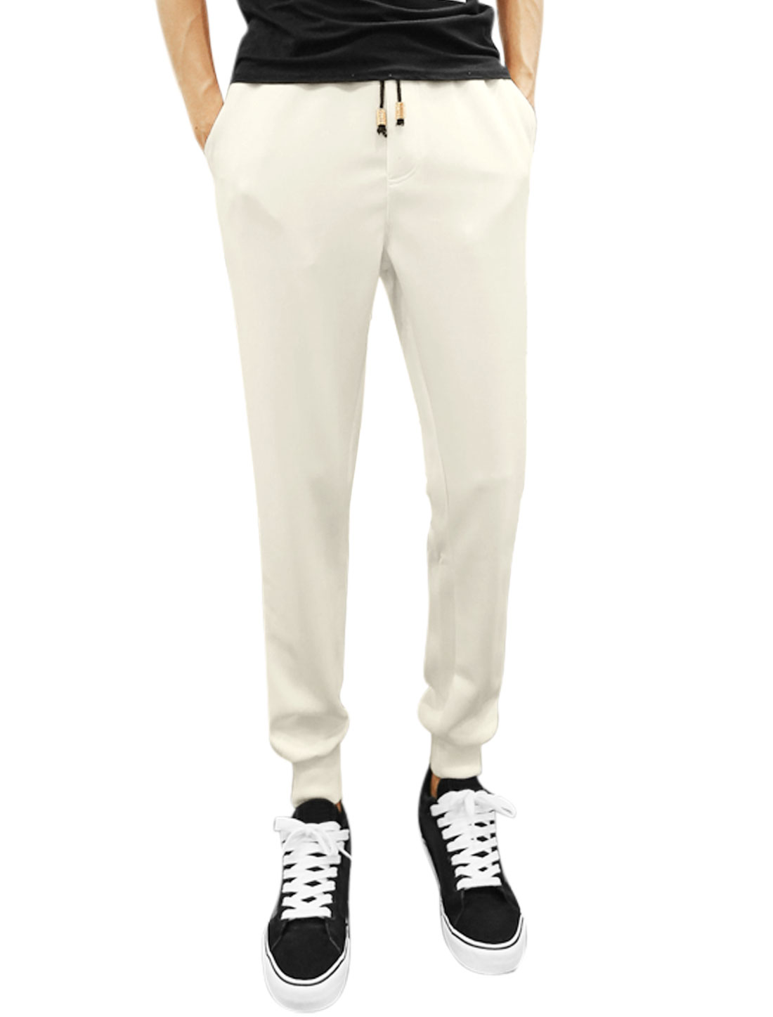 Men Drawstring Waist Zip Fly Slant Pockets Casual Pants White W30