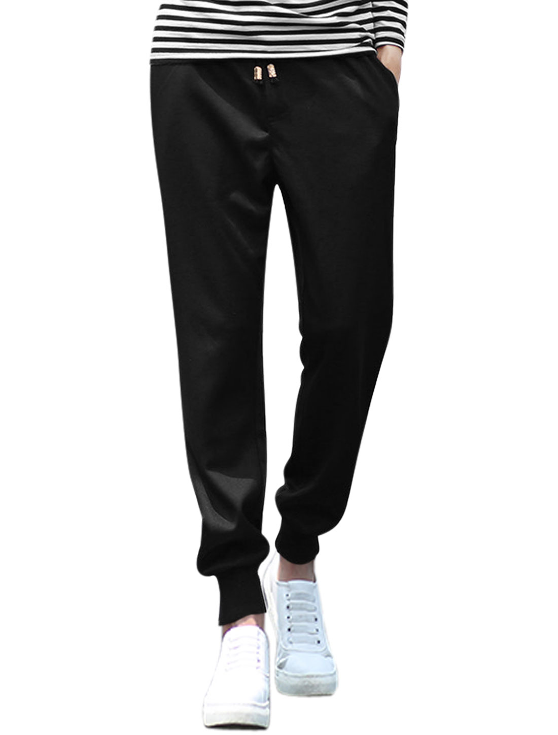 Men Natural Waist Zip Fly Ribbed Cuffs Tapered Pants Black W30