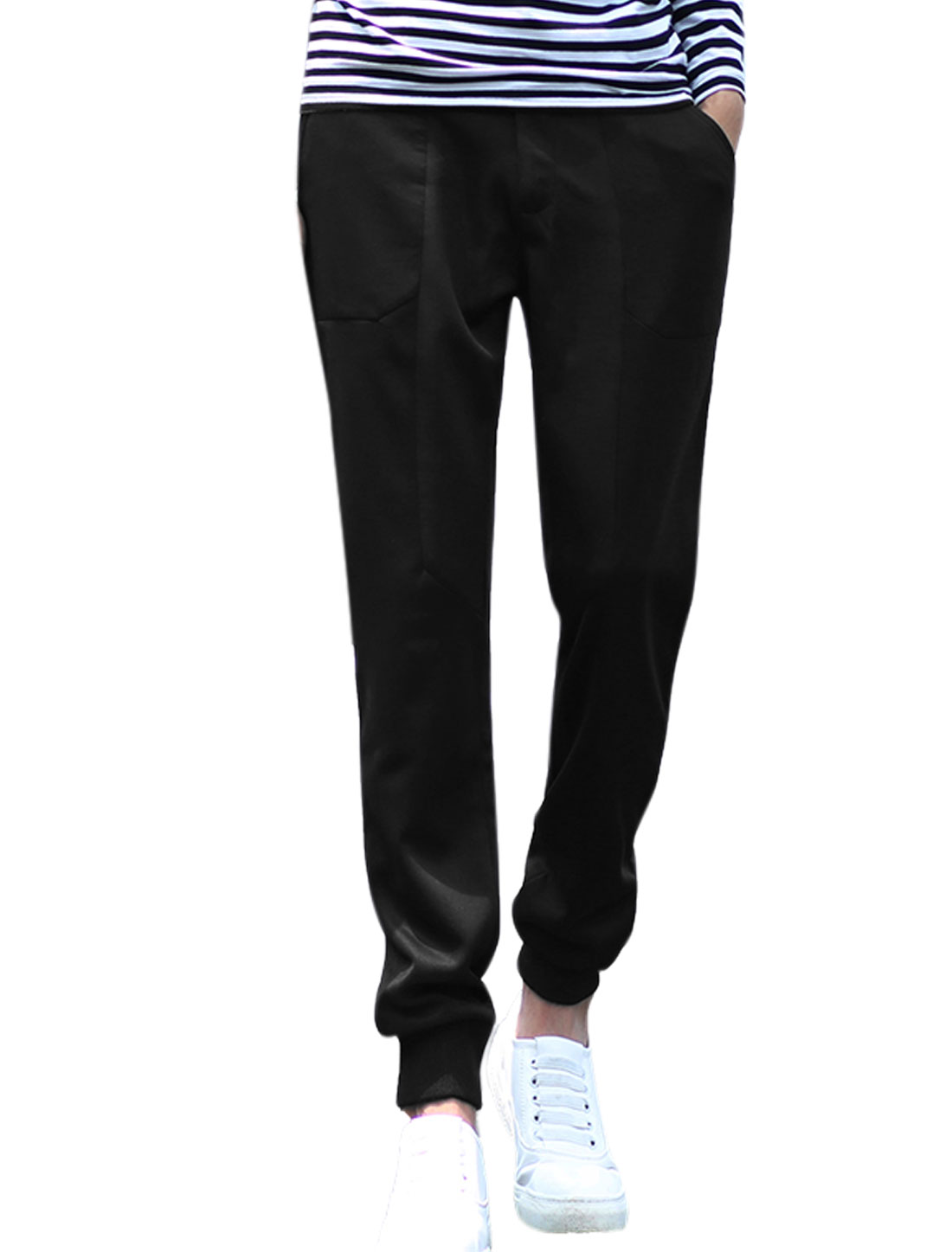 Men Zip Fly Ribbed Cuffs Tapered Leisure Pants Black W32