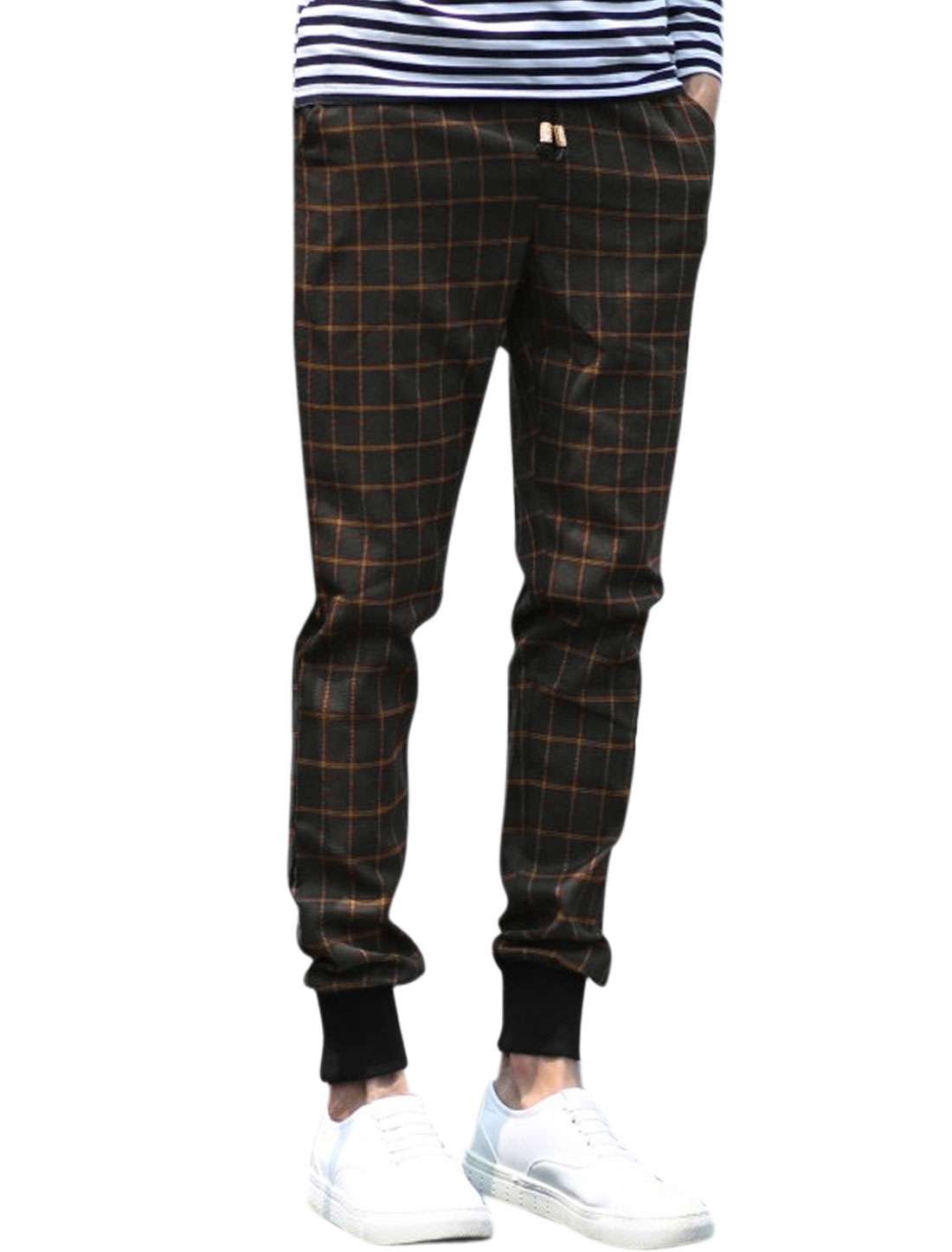 Men Drawstring Waist Plaids Slant Pockets Casual Pants Black W32