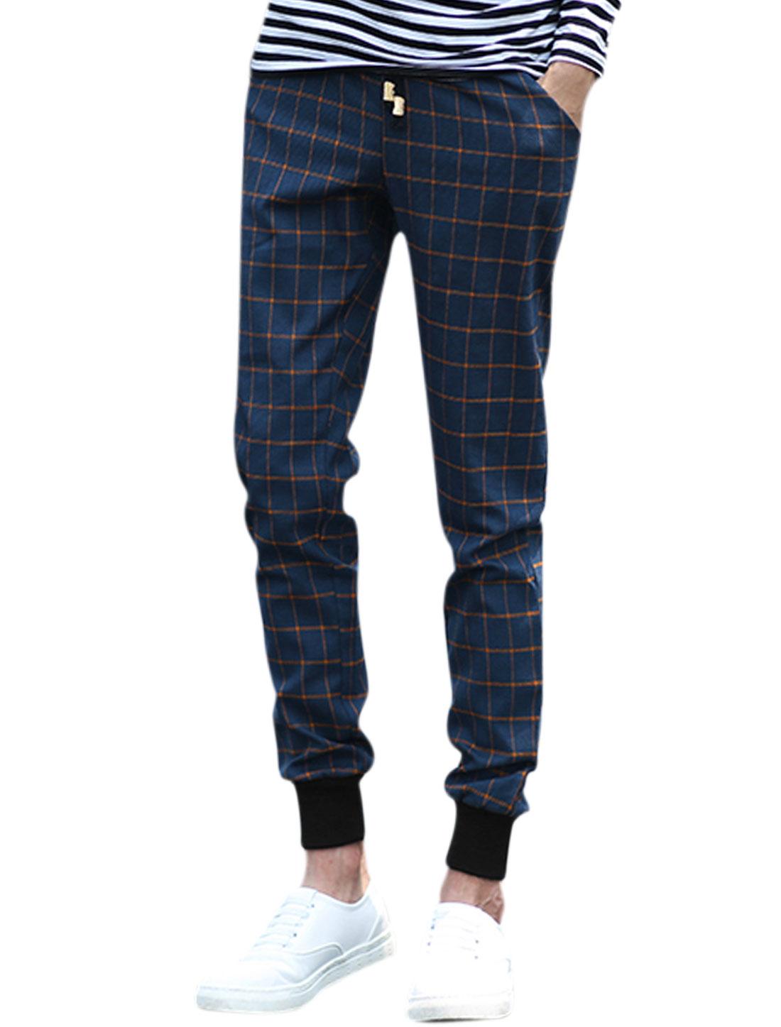 Men Drawstring Waist Plaids Front Pockets Leisure Pants Blue W30