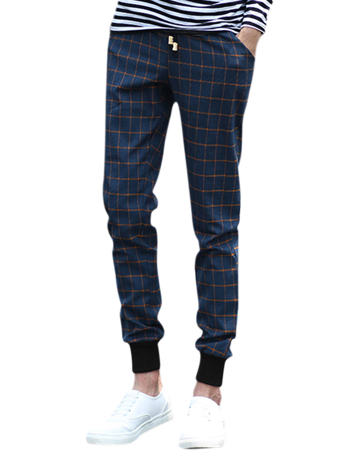 Men Natural Waist Hip Pockets Ribbed Cuffs Plaids Pants Blue W32