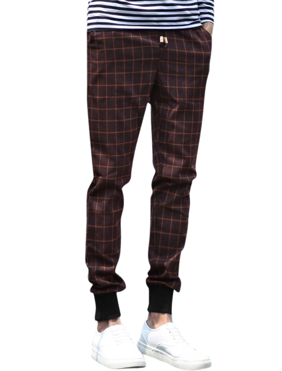 Men Natural Waist Two Slant Pockets Plaids Casual Trousers Red W30