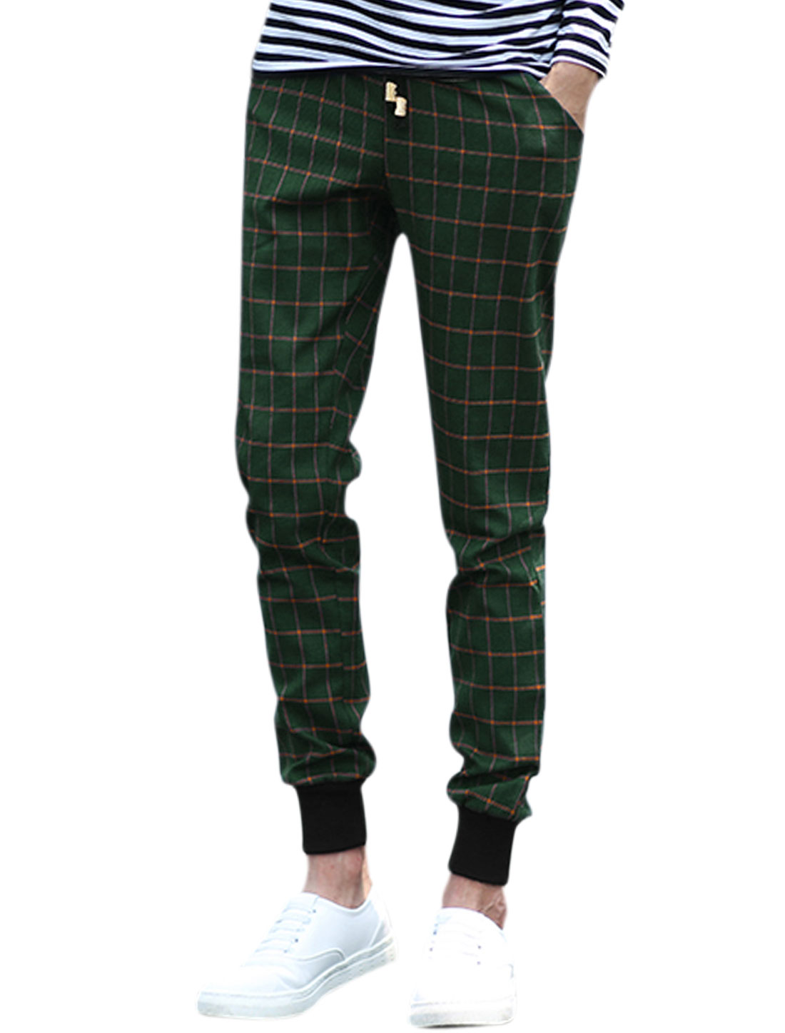 Men Plaids Hip Pockets Tapered Drawstring Waist Trousers Green W30