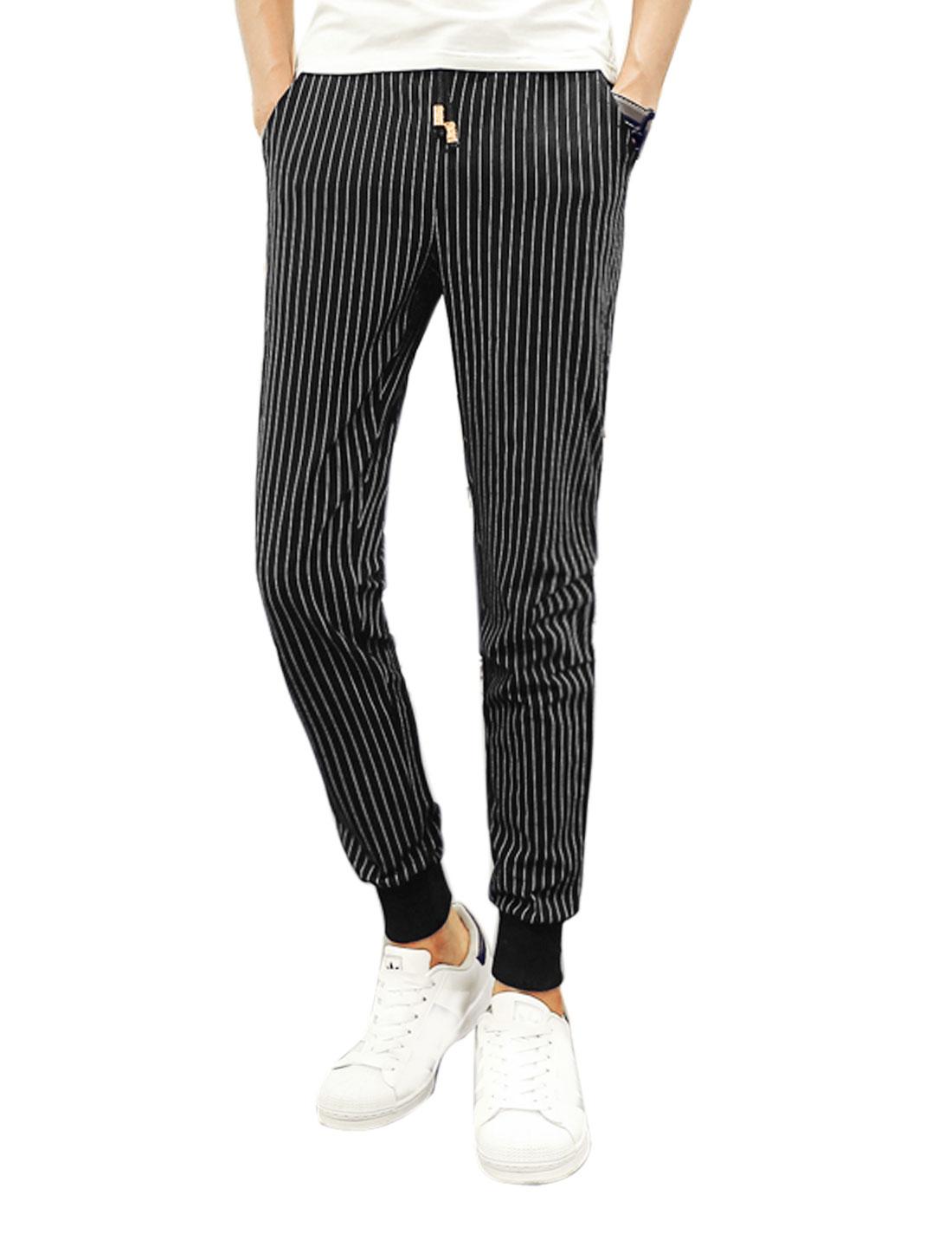 Men Drawstring Waist Stripes Tapered Casual Pants Black W30