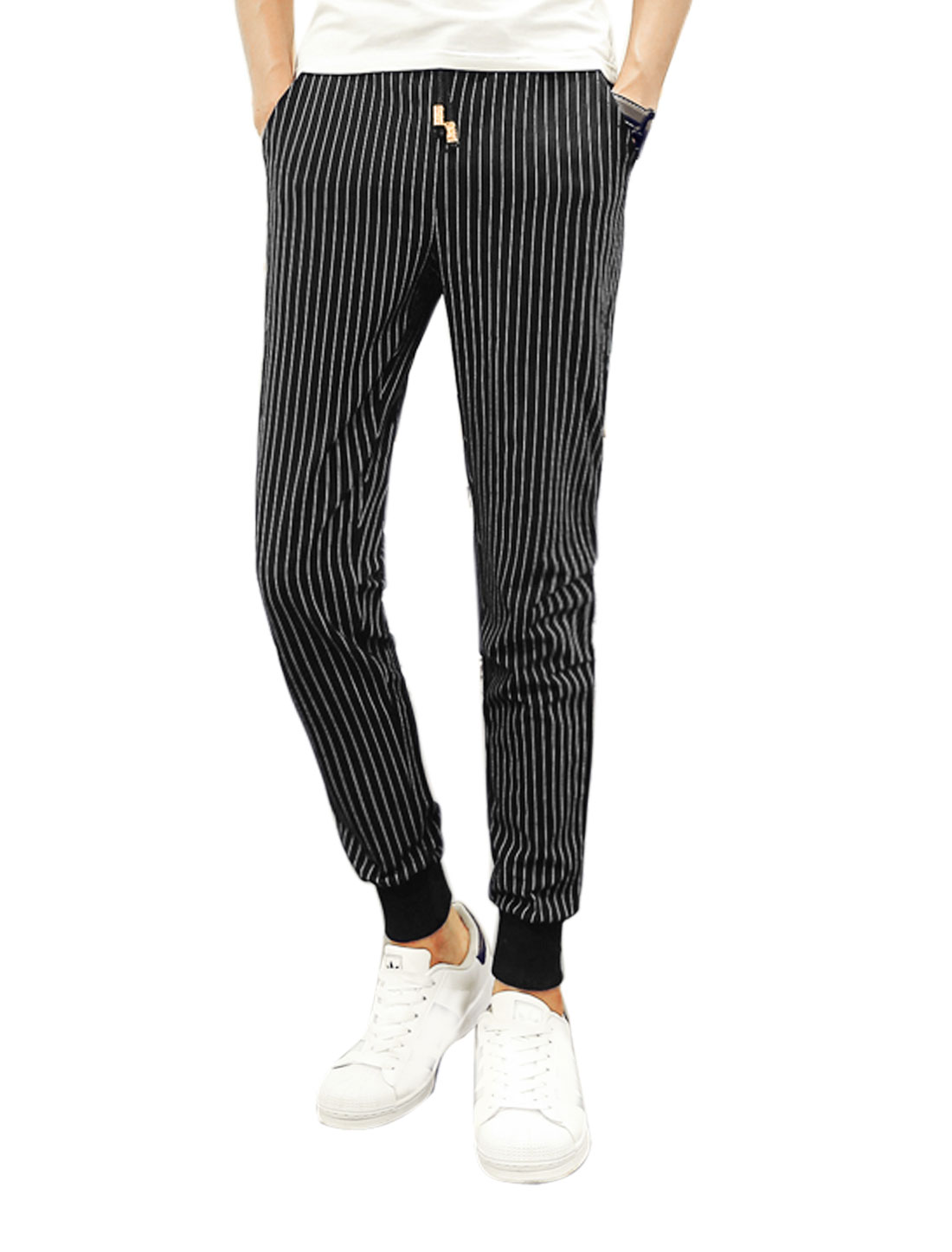Men Drawstring Waist Stripes Ribbed Cuffs Leisure Pants Black W32