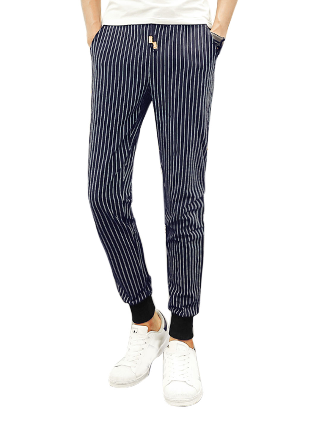 Men Natural Waist Ribbing Cuffs Tapered Stripes Pants Blue W32