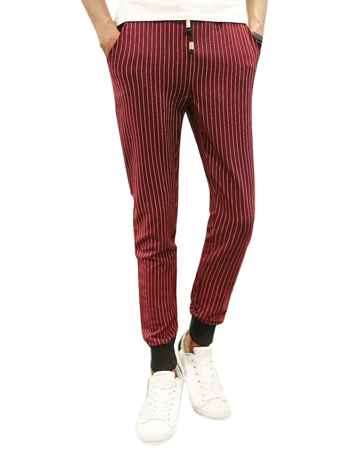 Men Double Slant Pockets Tapered Stripes Slim Fit Pants Red W32