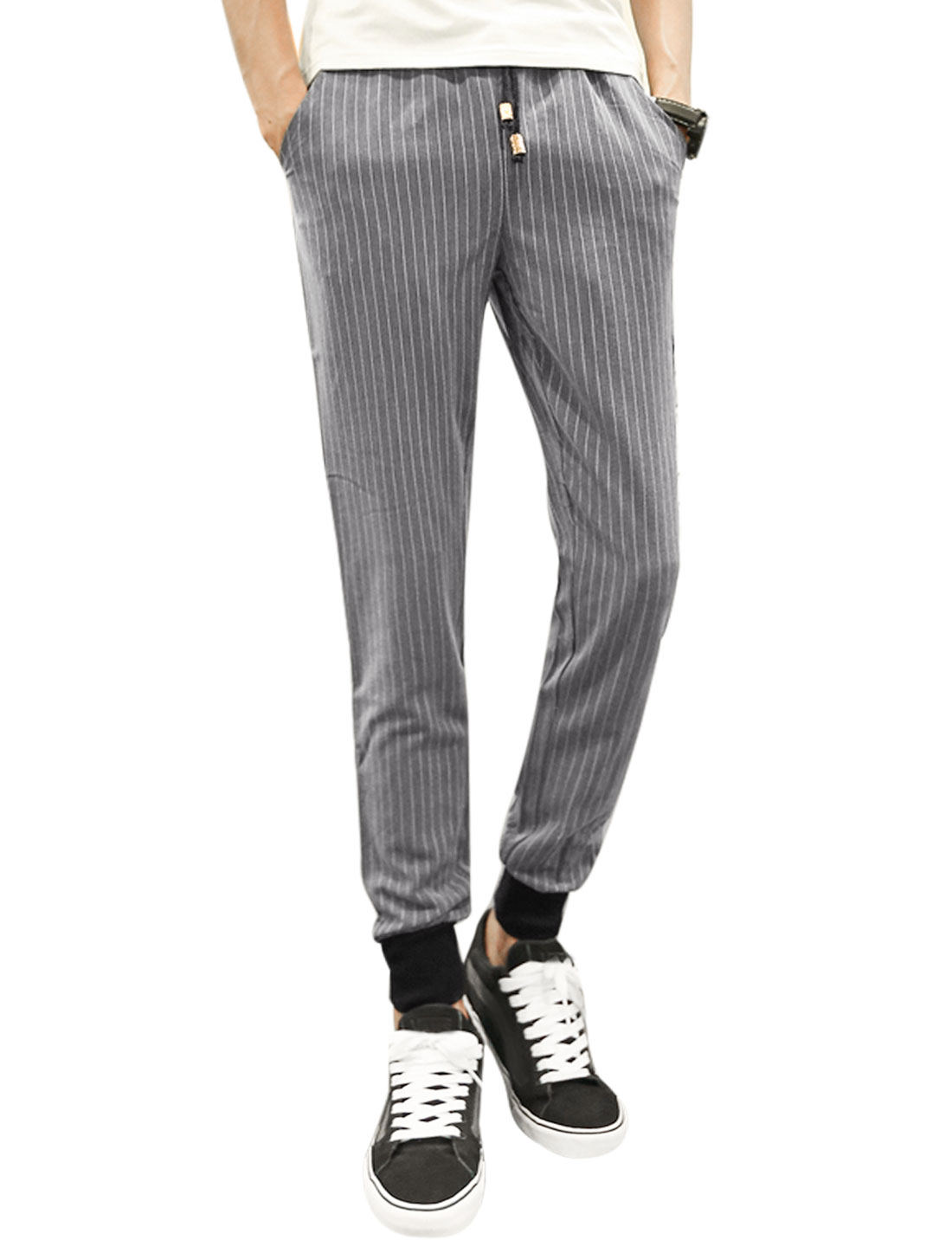 Men Ribbing Cuffs Stripes Tapered Casual Trousers Gray W30
