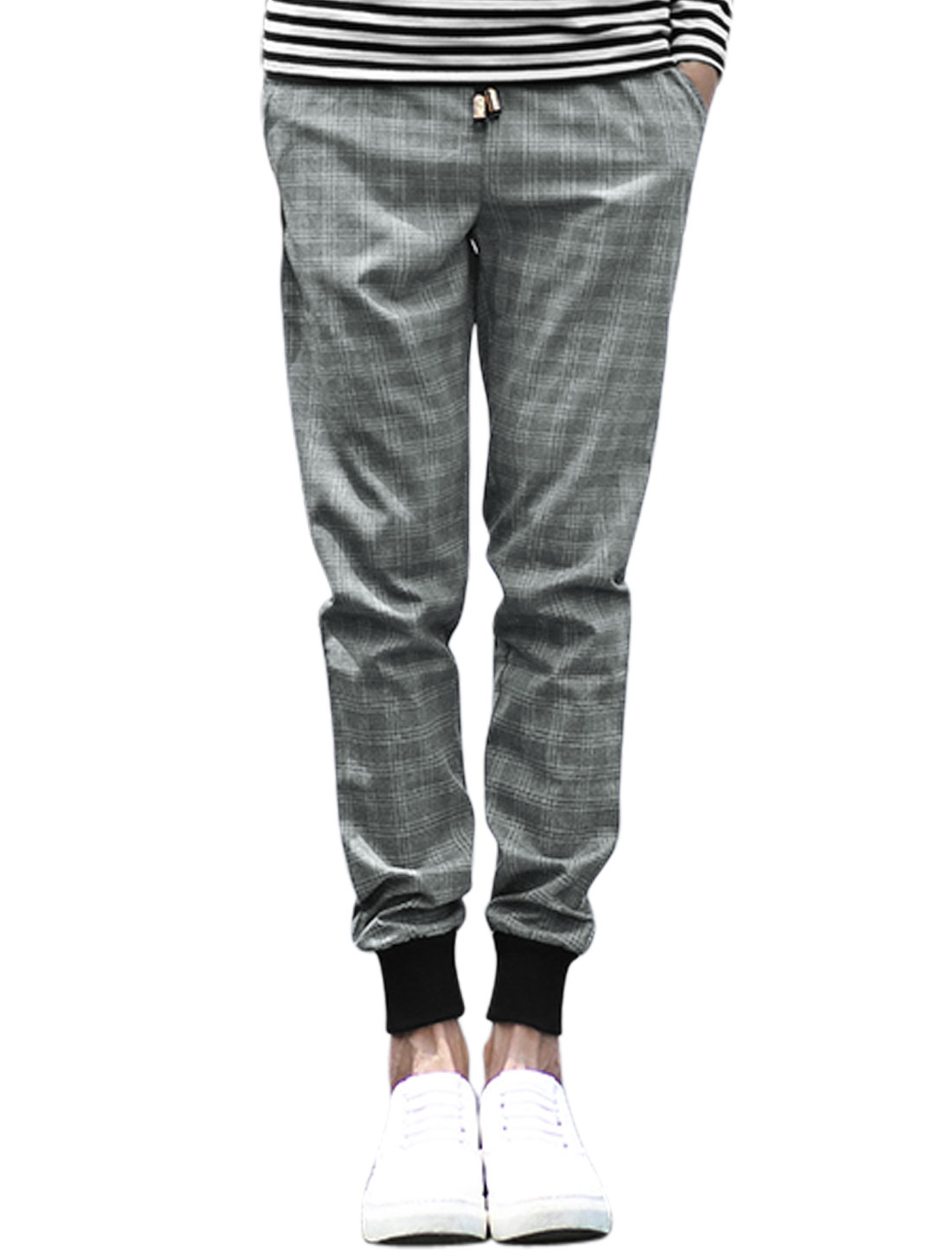 Men Natural Waist Tapered Ribbed Cuffs Plaids Pants Gray W32