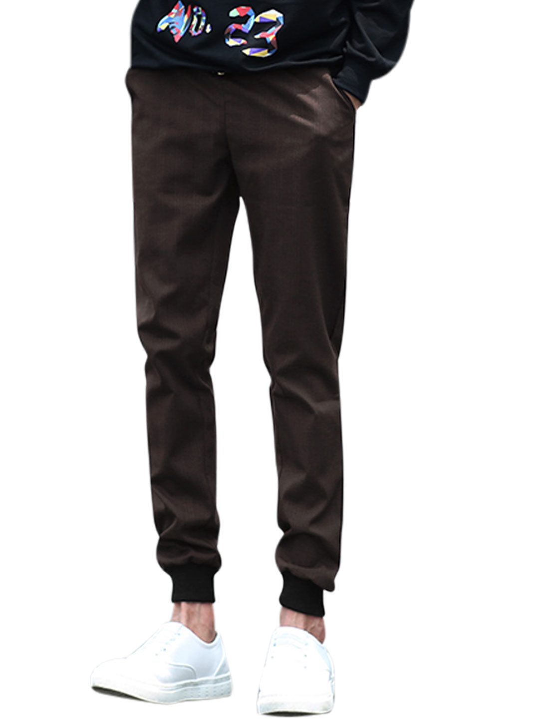 Men Drawstring Waist Ribbing Cuffs Tapered Trousers Brown W30