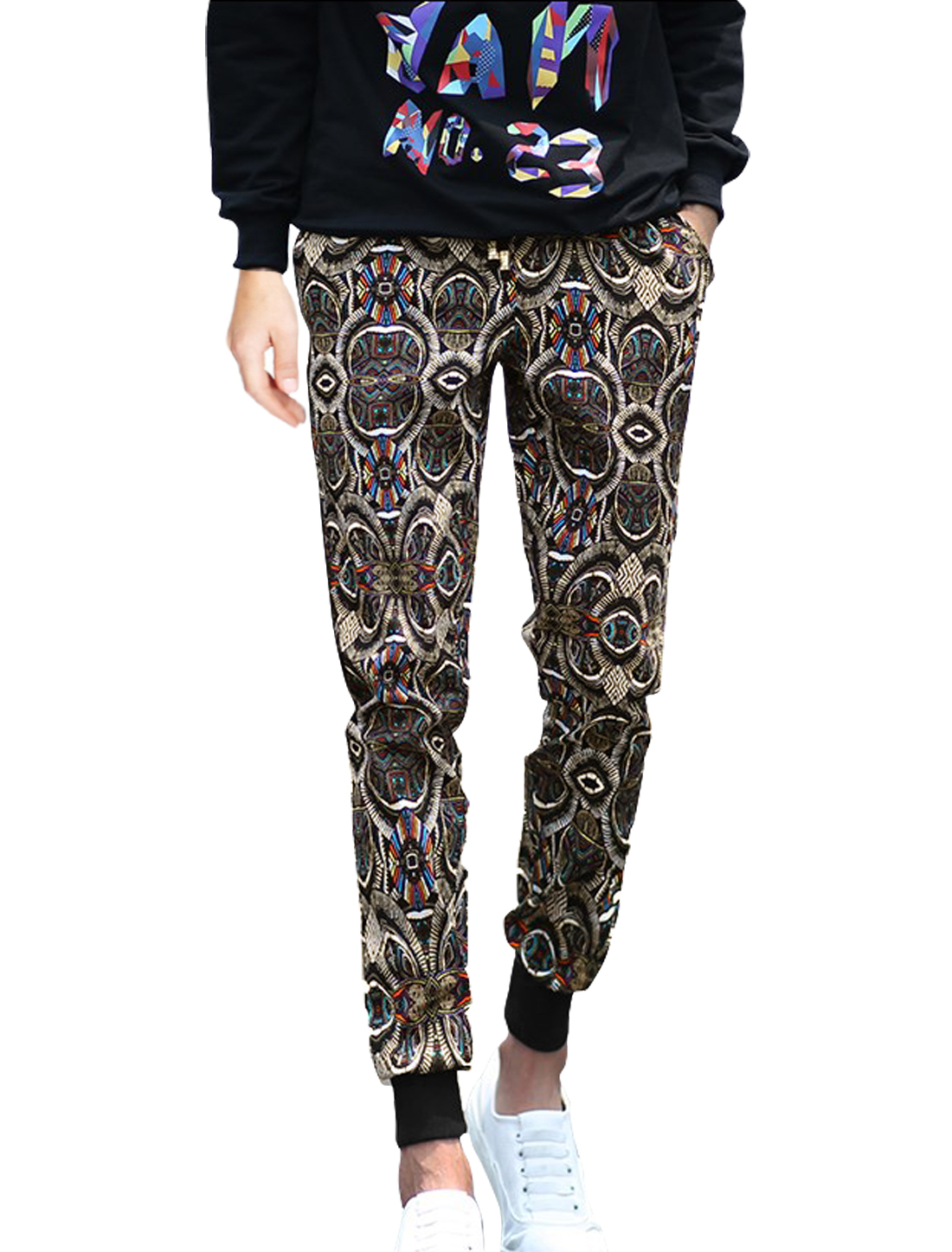 Men Drawstring Waist Novelty Prints Casual Pants Black W30