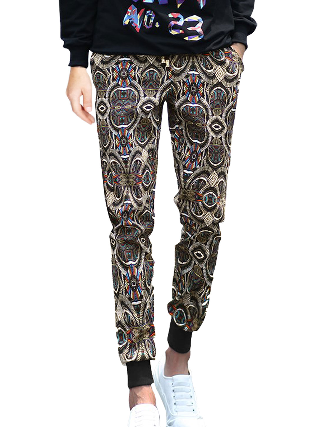 Men Natural Waist Novelty Prints Tapered Pants Black W32