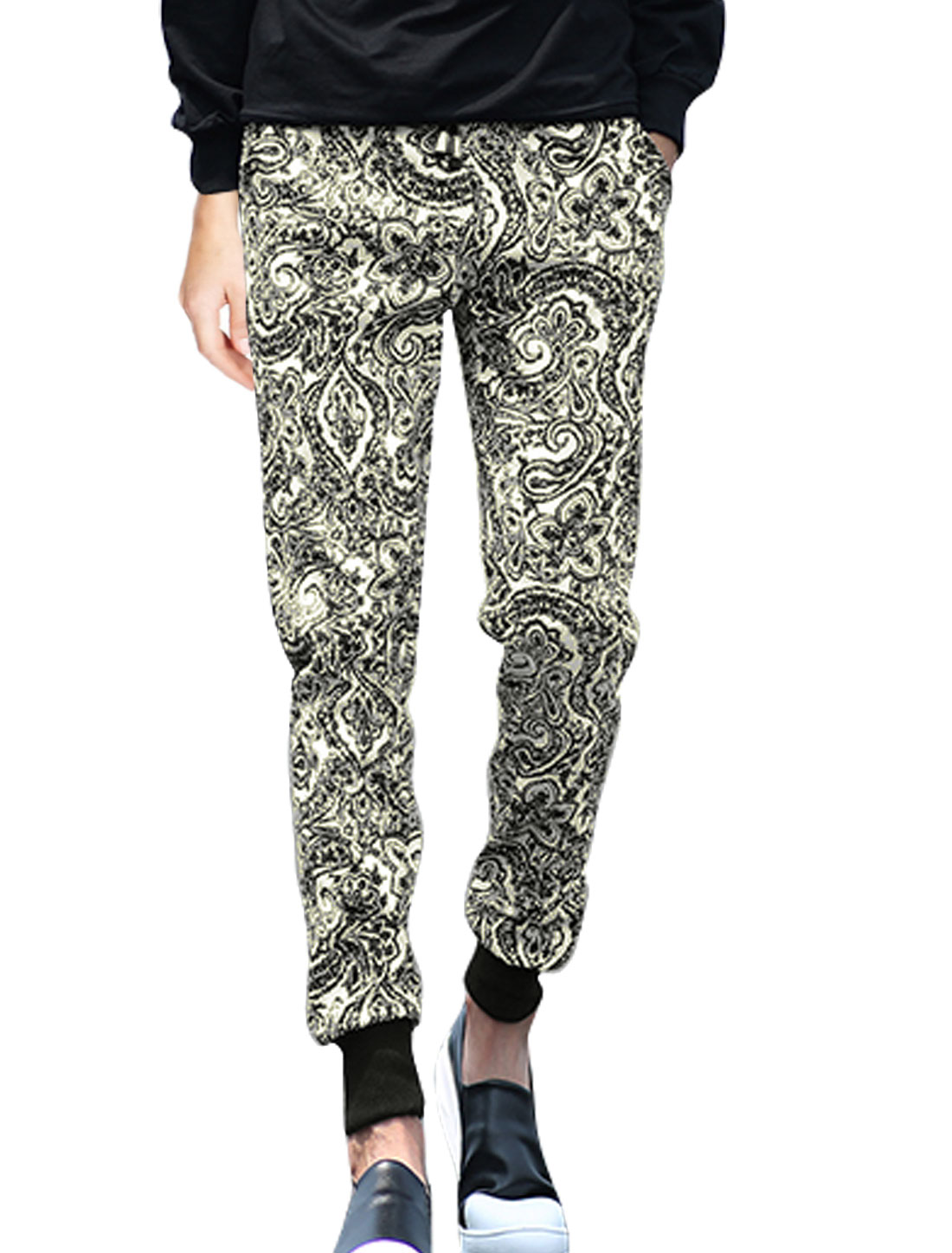 Men Paisleys Novelty Prints Casual Tapered Trousers Black W32