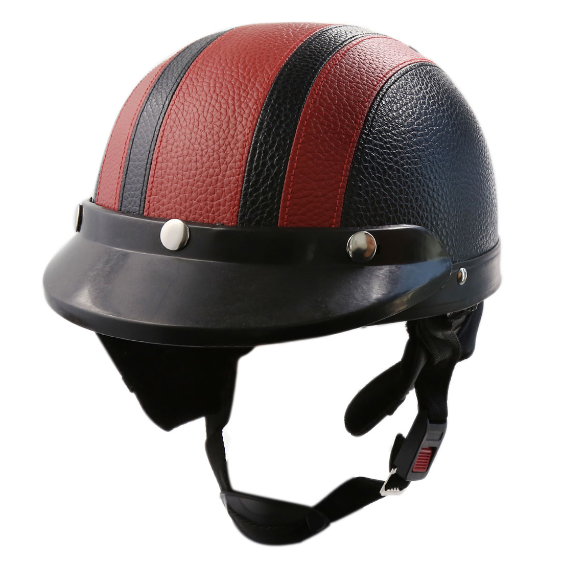 Adjustable Nylon Strap Motorcycle Scooter Safety Helemt Head Protector Black Red