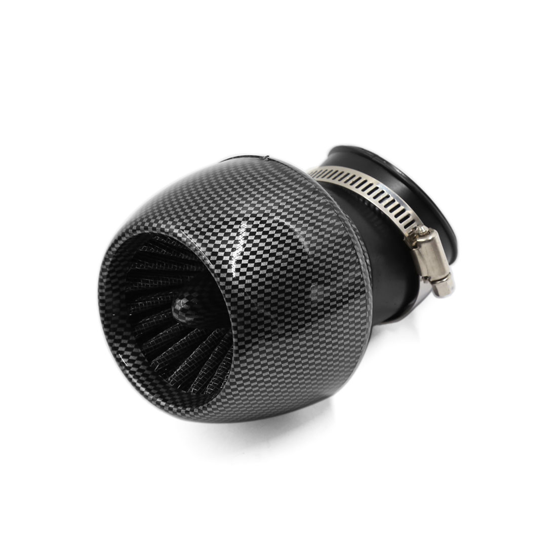 Motorcycle 45mm Inlet Dia Carbon Fiber Print High Flow Air Intake Cone Filter