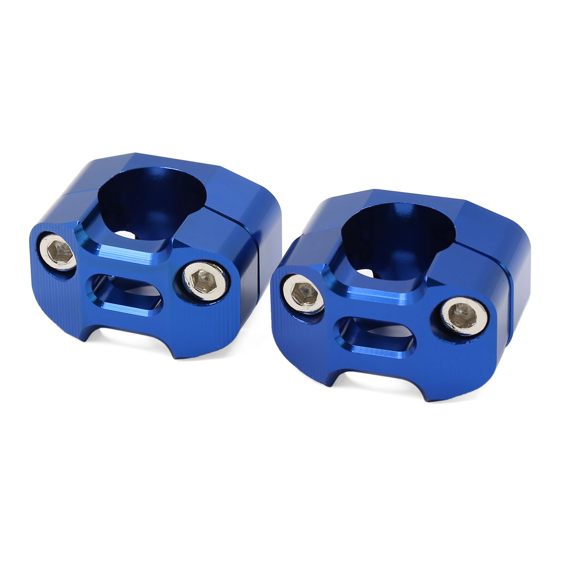 Motorcycle Dirt Pit Bike 28mm Fat Handle Bar Riser Clamp Adapter Blue 2 Pcs