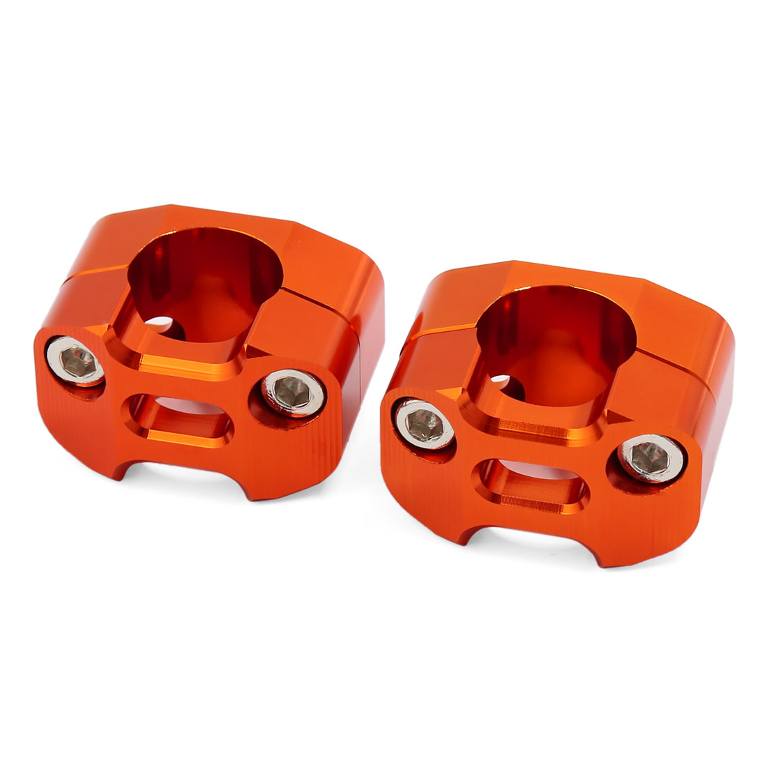 Motorcycle Orange CNC Aluminum Alloy 28mm Fat Handlebar Riser Clamp Adapter 2pcs