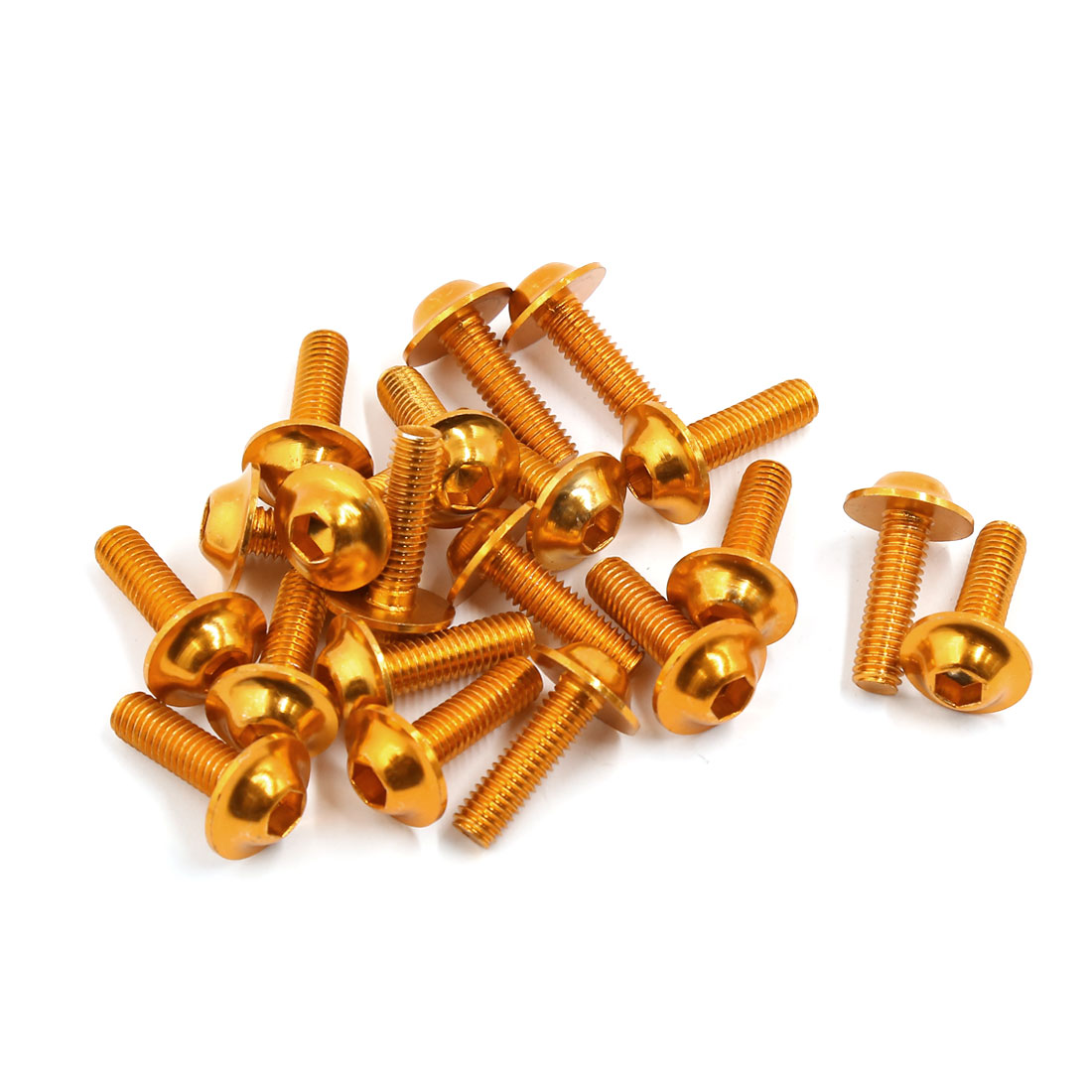 20pcs Gold Tone Aluminum Alloy Motorbike Sportbike Fairing Bolt Screw 6mm x 20mm