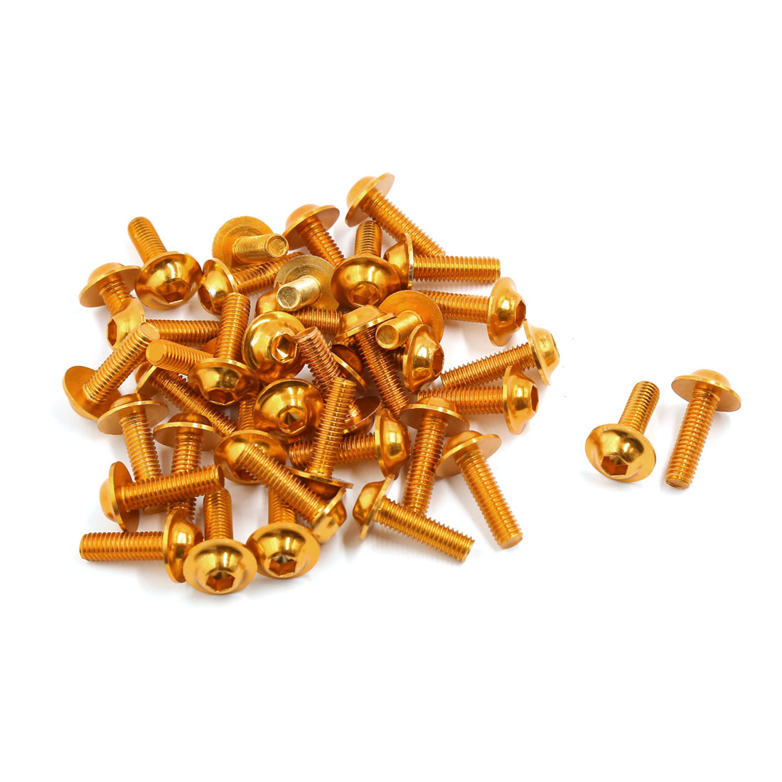 40 Pcs M6 Hexagon Fastener Bolts Screws Gold Tone for Motorcycle Fairing