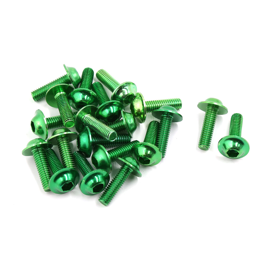 20 Pcs Green Aluminum Alloy Motorcycle Fairing Hexagonal Bolts Screws 6mm Thread
