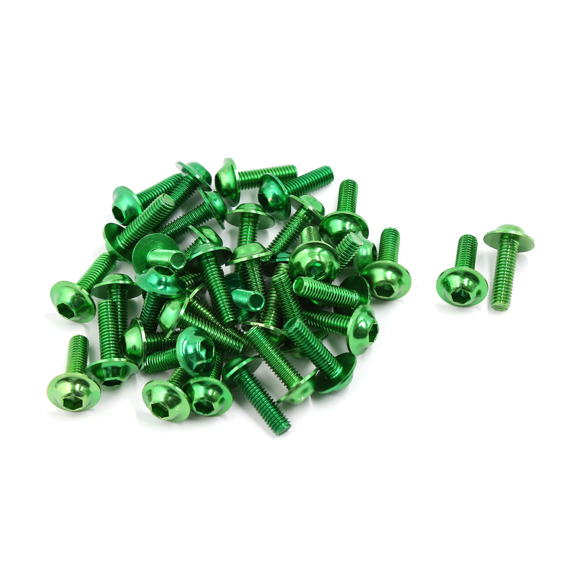 40 Pcs Universal 6mm Thread Dia Hexagonal Bolts Screws Green for Motorcycle