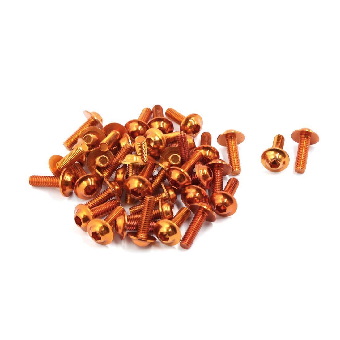 40pcs Orange 6mm Thread Dia Motorbike Sportbike Fairing Bodywork Bolts Screws