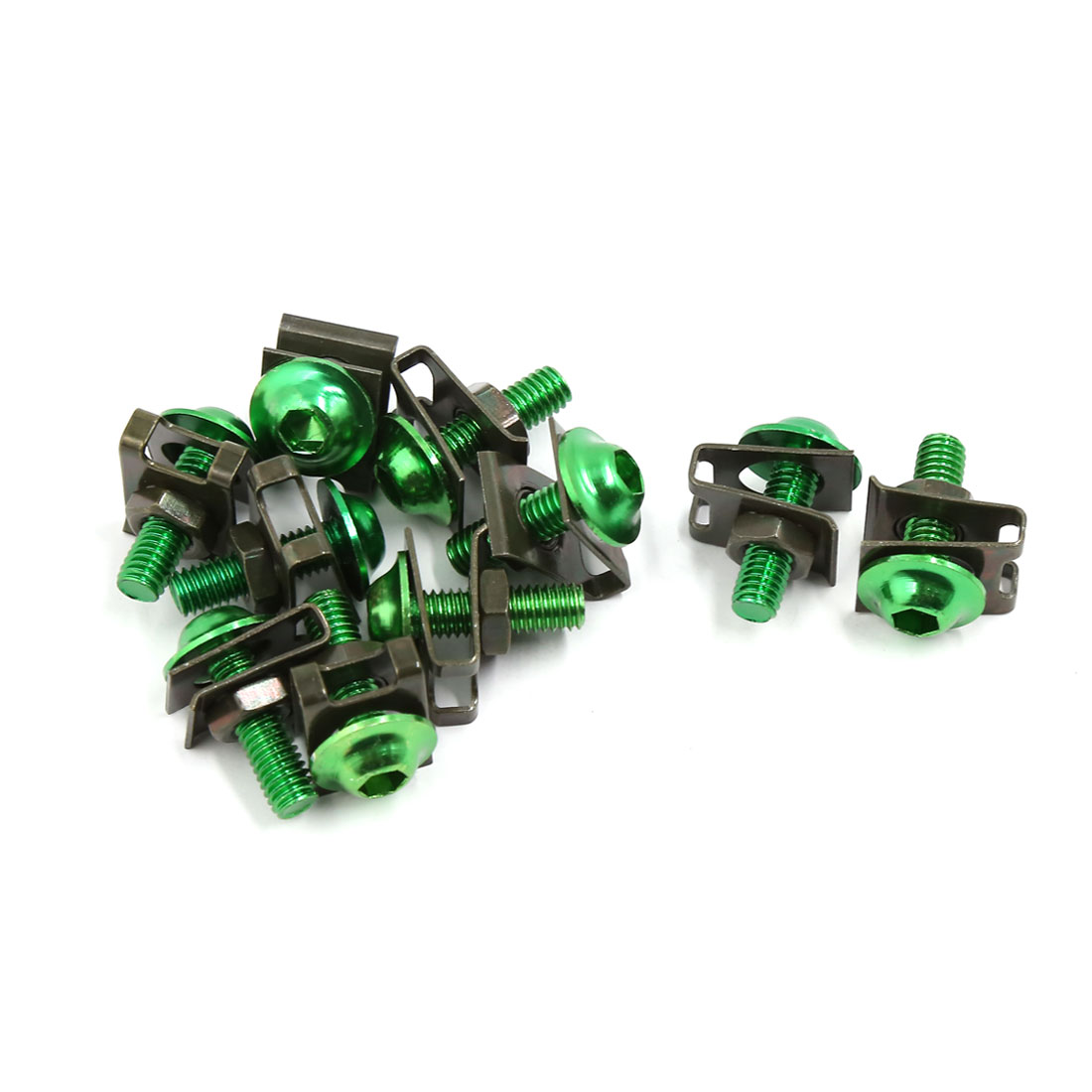 10 Pcs Green 6mm Thread Dia Motorcycle Fairing Bolts Screws Fastener Clips Kit