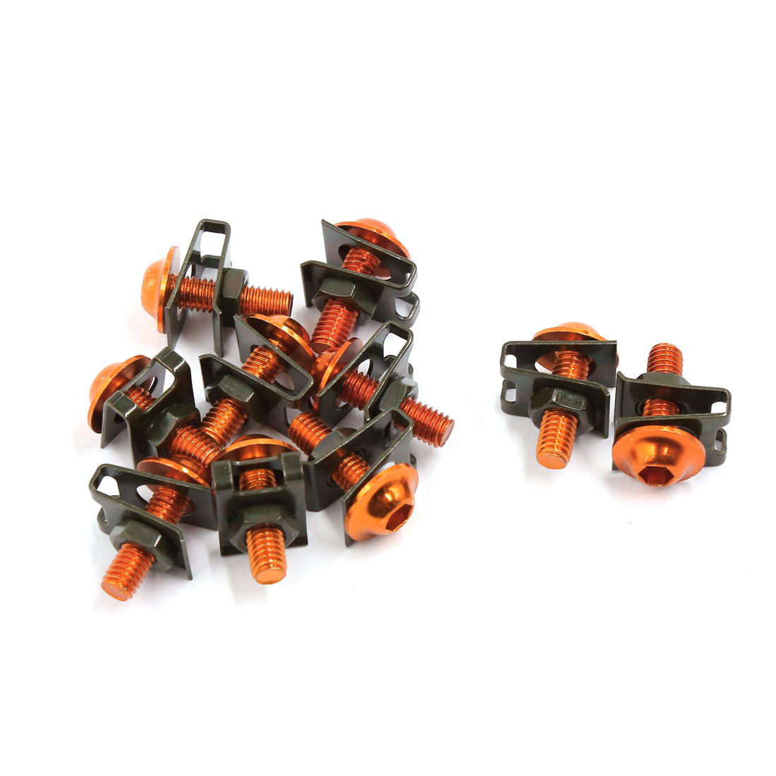 10pcs M6 Motorcycle Sportbikes Fairing Bolts Screws Fastener Clips Kit Orange